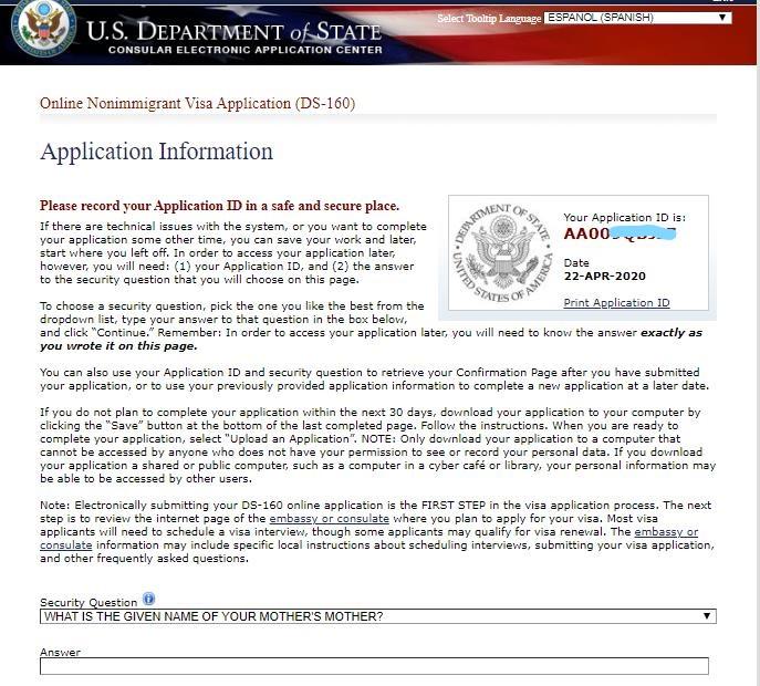 ID formulario VISA de Estados Unidos