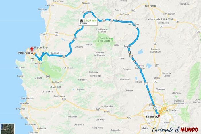 Cómo ir de Santiago a Valparaíso en auto