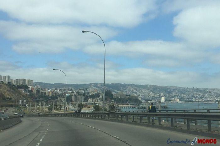 Llegando a Valparaíso con el auto