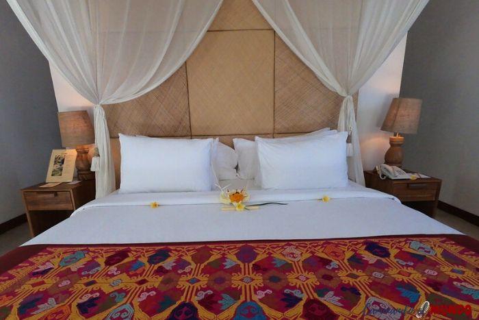 Cama de lujo en nuestro hotel en Ubud