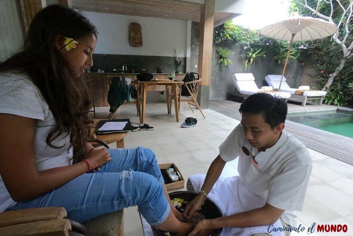 Masaje de bienvenida en el Purana Boutique Resort