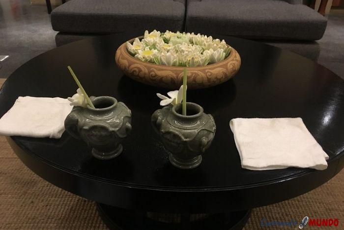 Recepción Sakmut Hotel, dormir en Siem Reap
