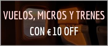 Vuelos Micros y Trenes con 10 euros de descuento