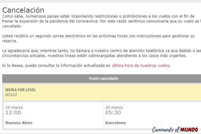 Vuelo cancelado de Iberia